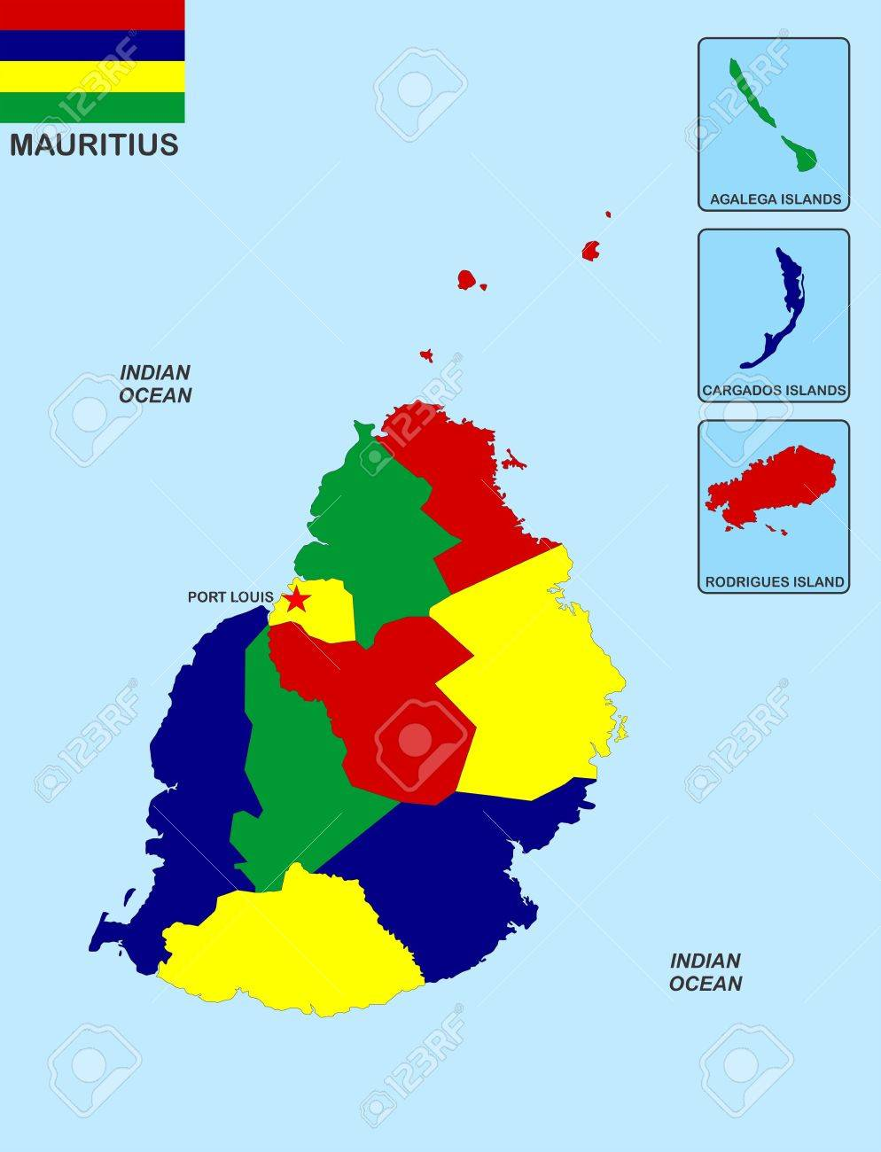 Very Big Size Mauritius Political Map With Flag Stock Photo - Political map of mauritius