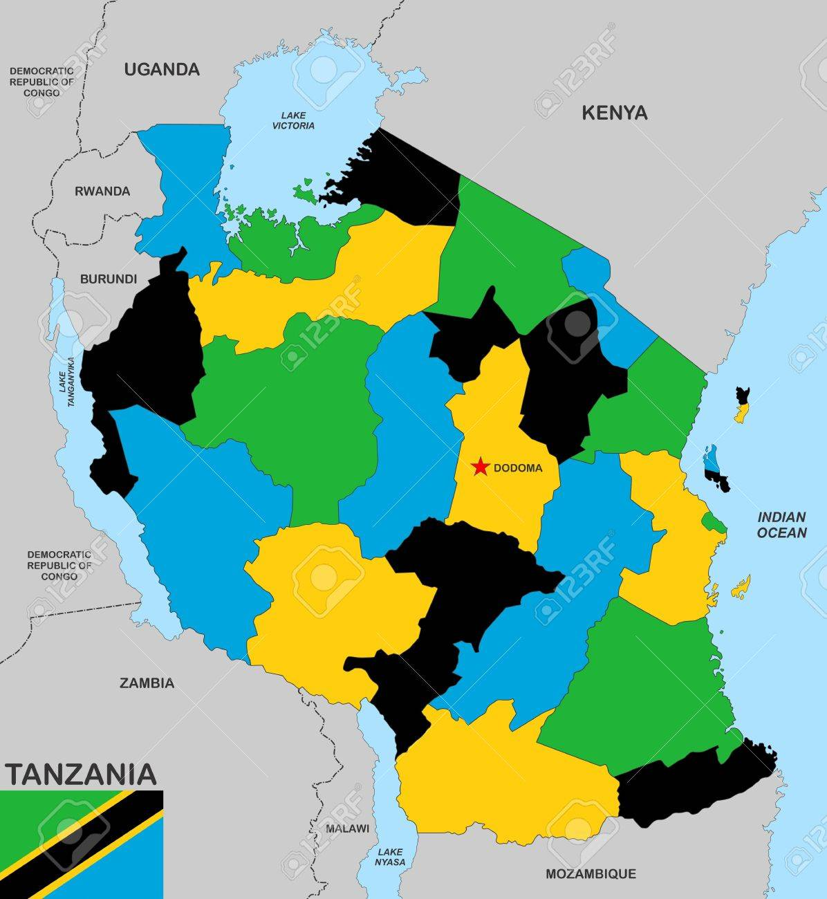 Picture of: Very Big Size Tanzania Political Map With Flag Stock Photo Picture And Royalty Free Image Image 16953265