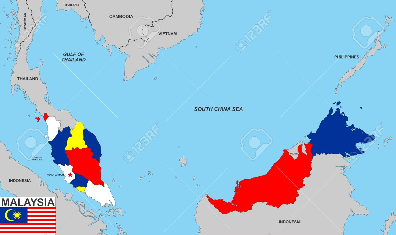 Very Big Size Malaysia Political Map With Flag Stock Photo Picture