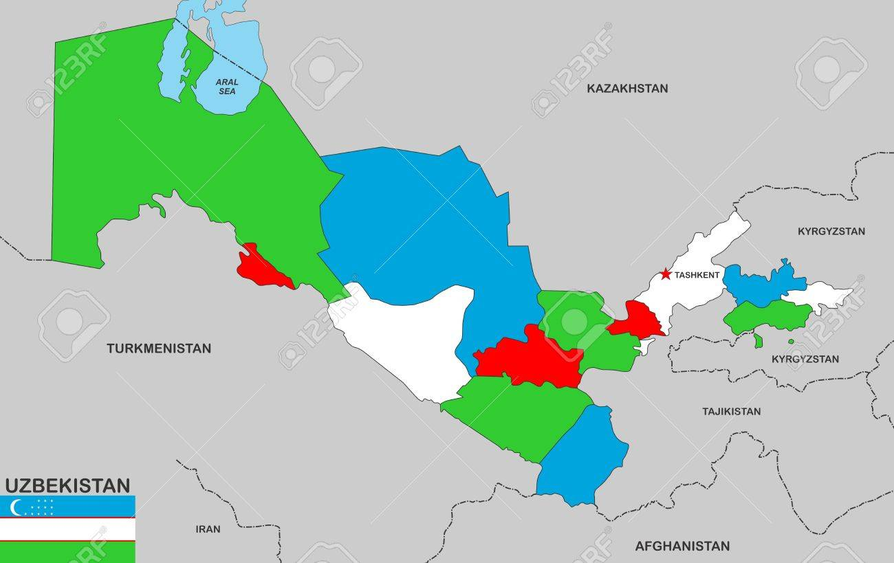 Very Big Size Uzbekistan Political Map With Flag Stock Photo