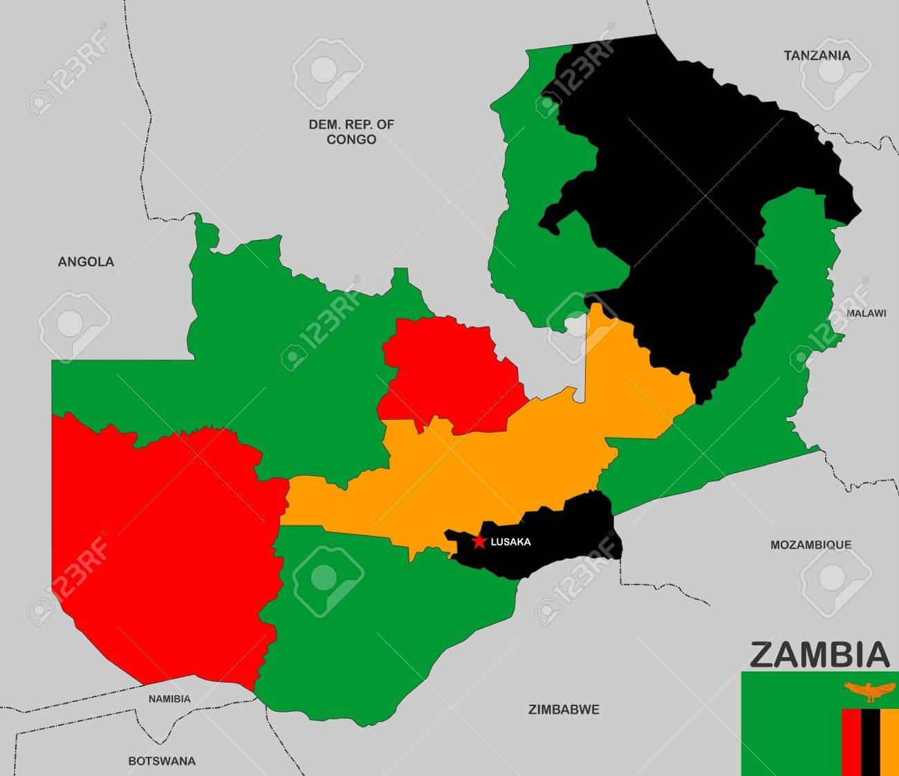 Very Big Size Zambia Political Map With Flag Stock Photo Picture