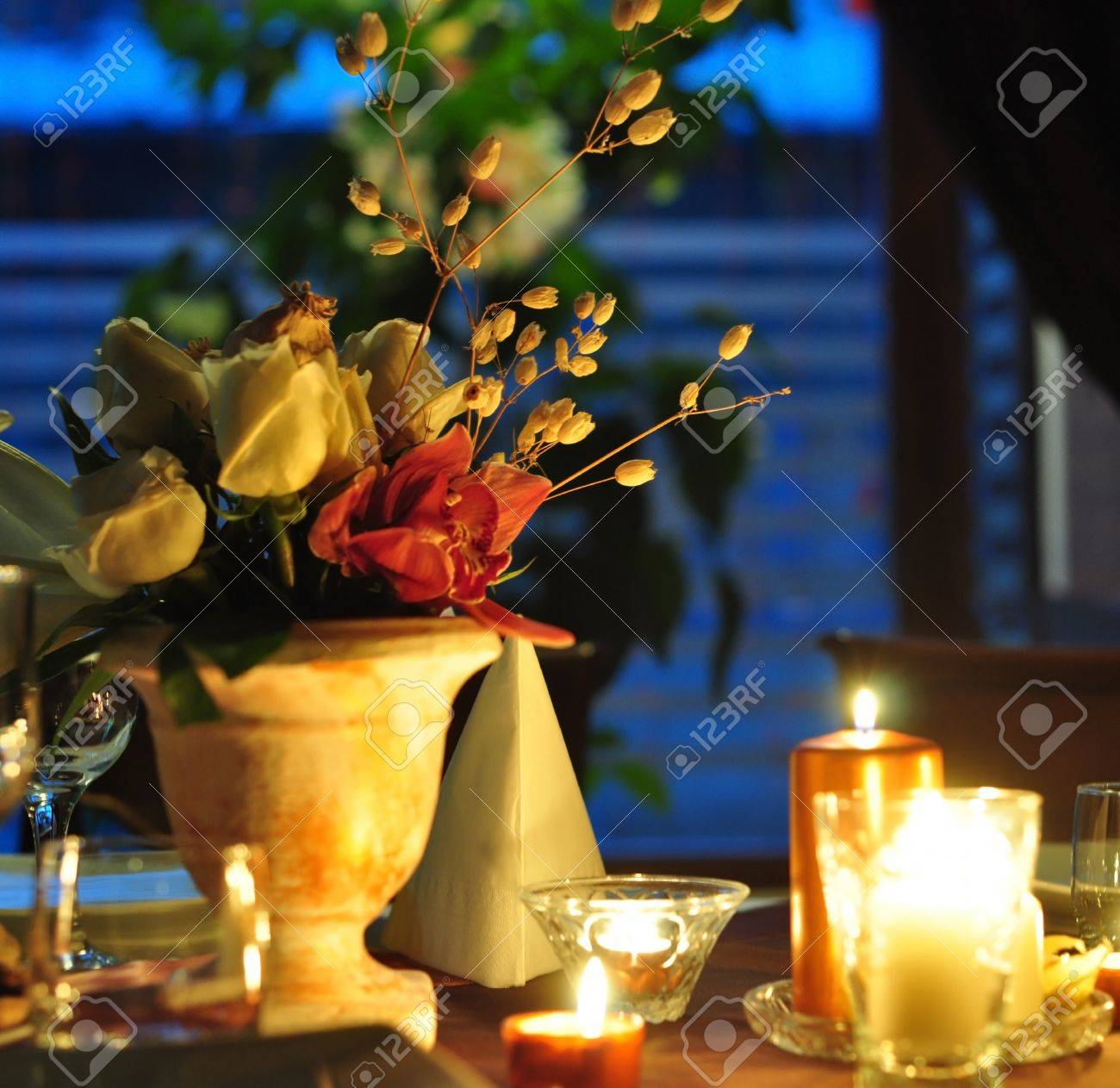 Romantic Dinner Decoration With Flowers And Candles Stock Photo Picture And Royalty Free Image Image 17306667