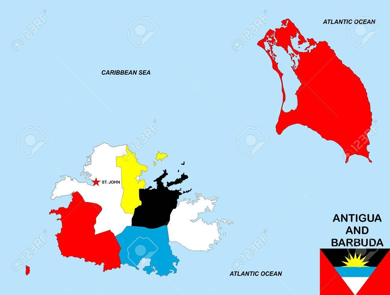 Very Big Size Antigua And Barbuda Political Map With Flag Stock - Antigua barbuda map caribbean sea