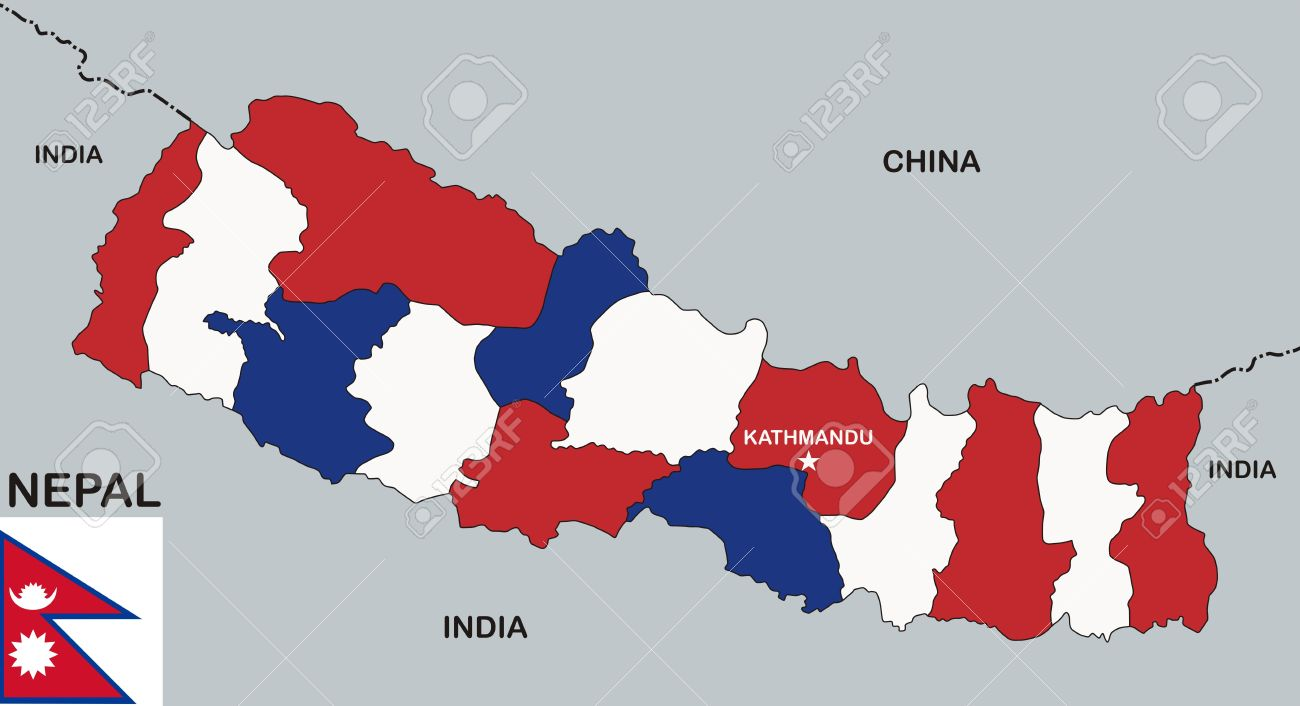 Very Big Size Nepal Political Map With Flag Stock Photo, Picture And ...