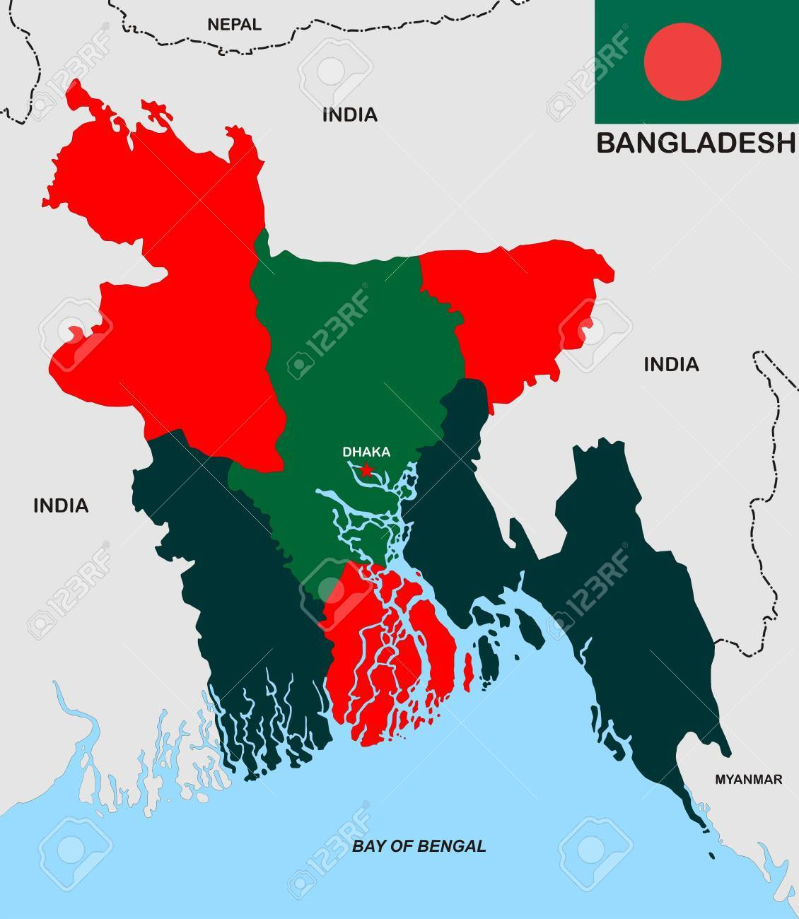 Political Map Of Bangladesh Country With Flag Illustration Stock