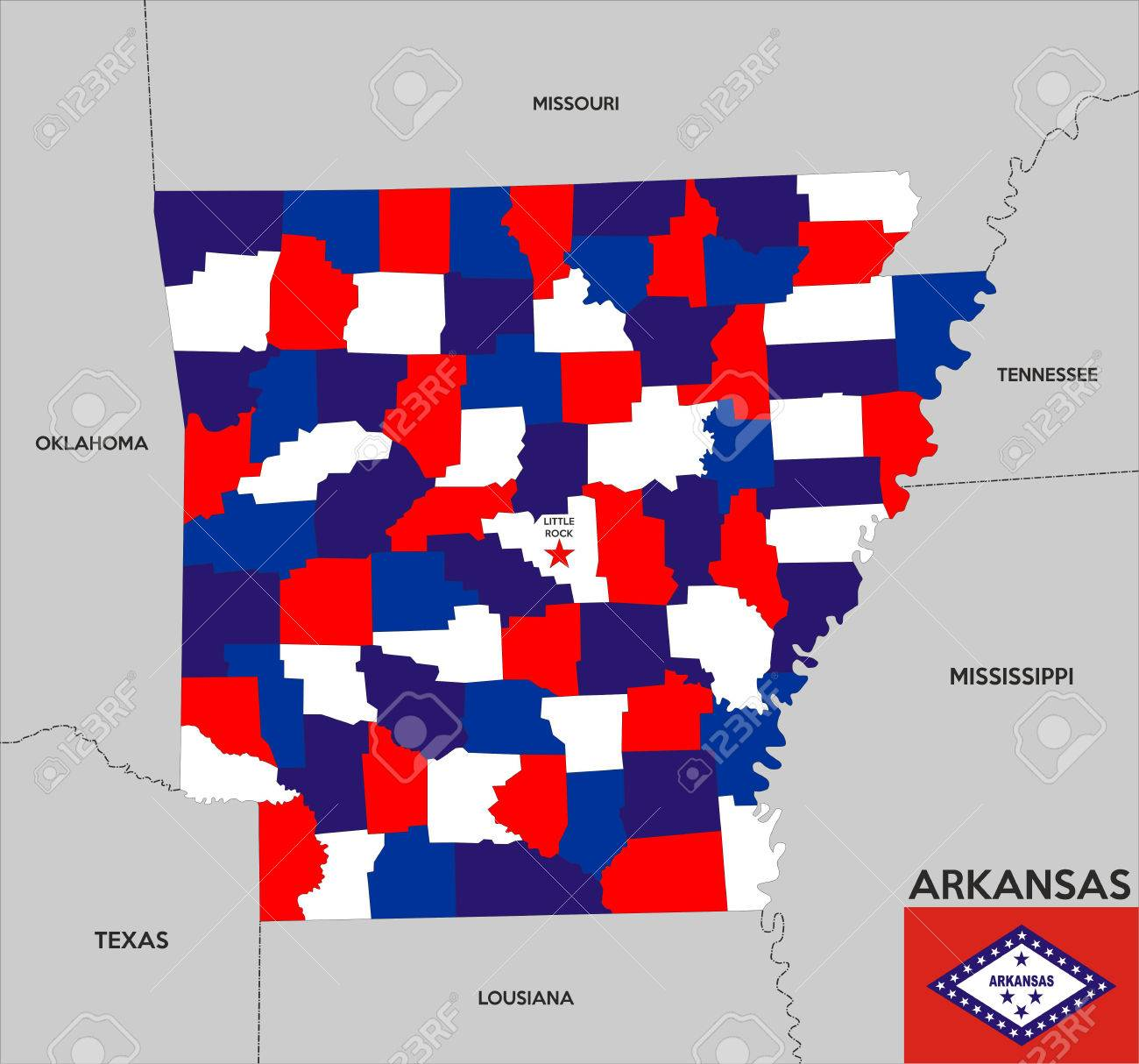 United States Of America Arkansas Republic Political Map With - Us map with arkansas
