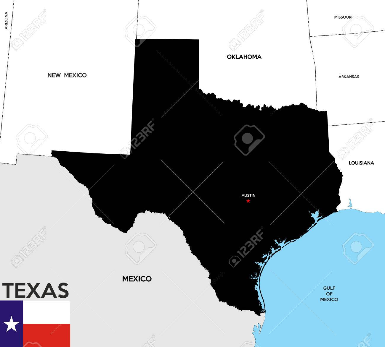 Map Of America Texas.United States Of America Texas Republic Black Map With Flag