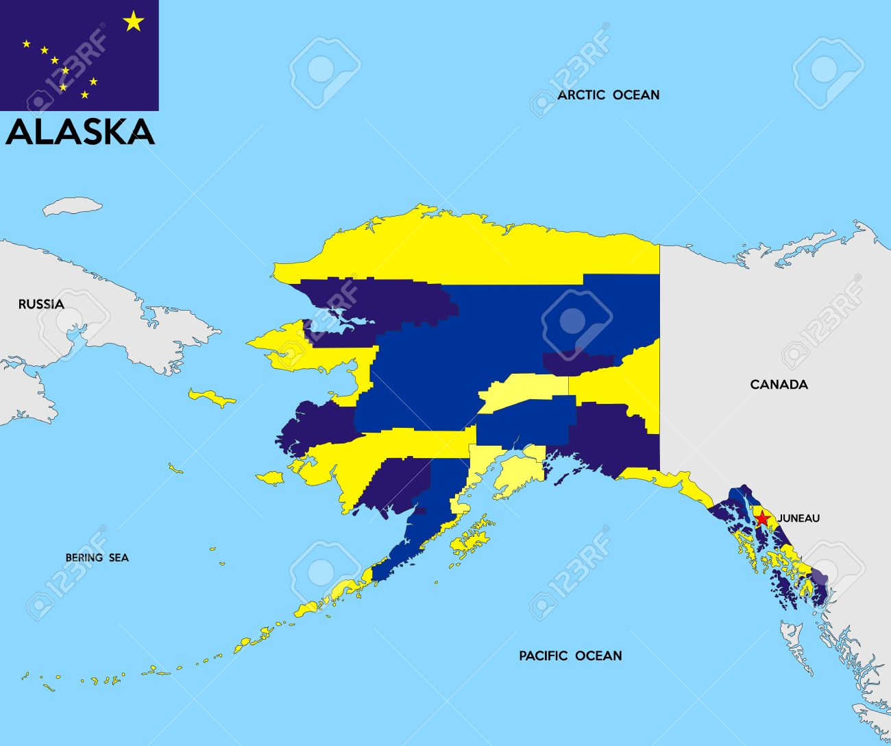 United States Of America Alaska Republic Political Map With Flag