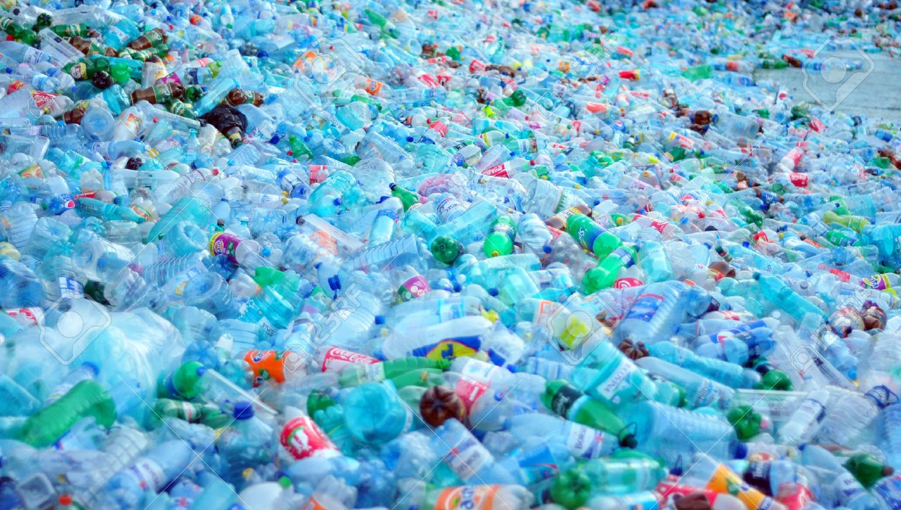 plastic bottle waste pile ready for recycle landfill - 29143811