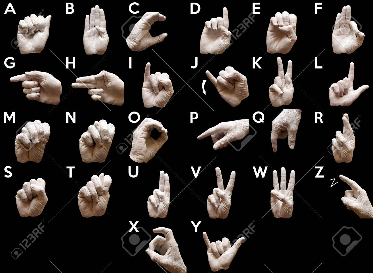Sign Language American alphabet with hands painted white over black background - 34461877