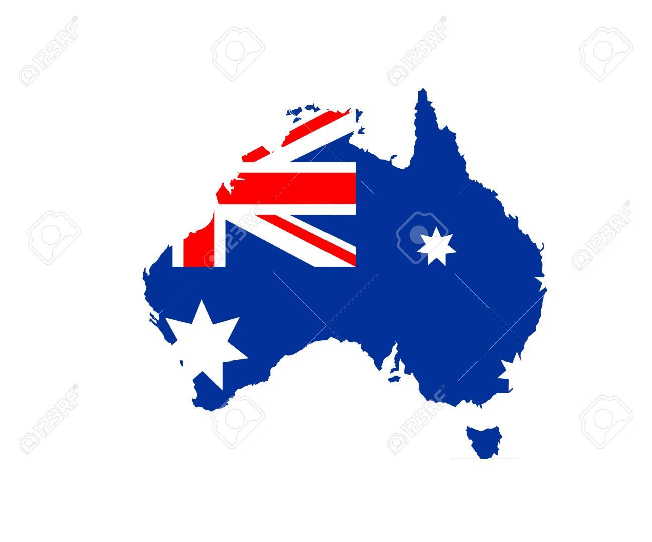Australia Map Shape.Australia Country National Flag Map Shape Illustration Stock Photo