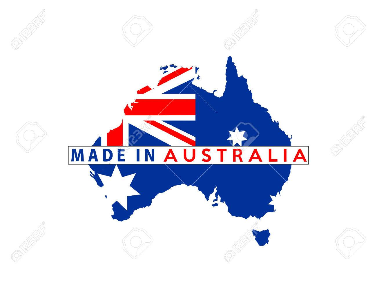 Made In Australia Country National Flag Map Shape With Text Stock Photo 34879931