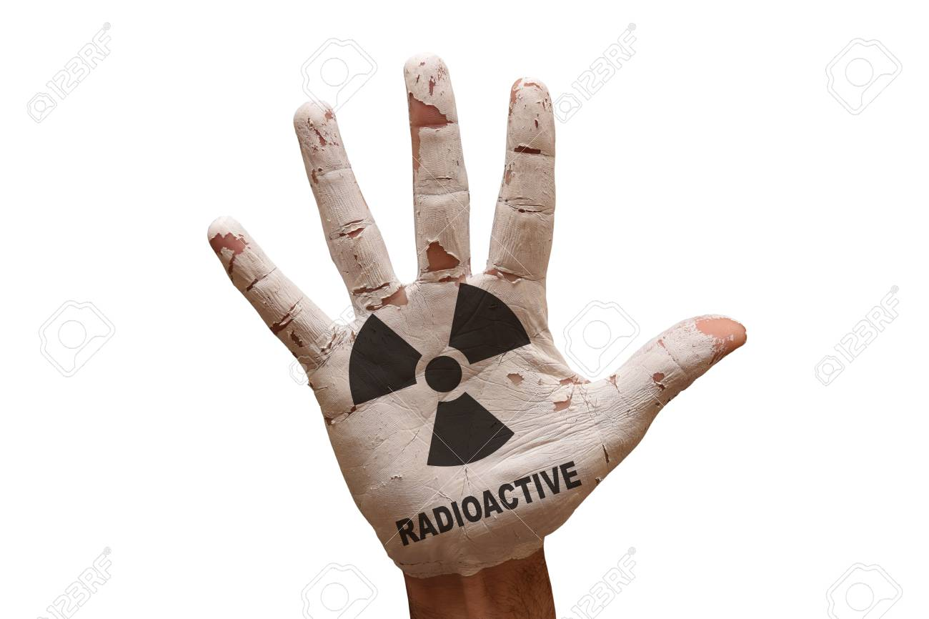 Man Hand Palm Painted Caution Radioactive Symbol Stock Photo