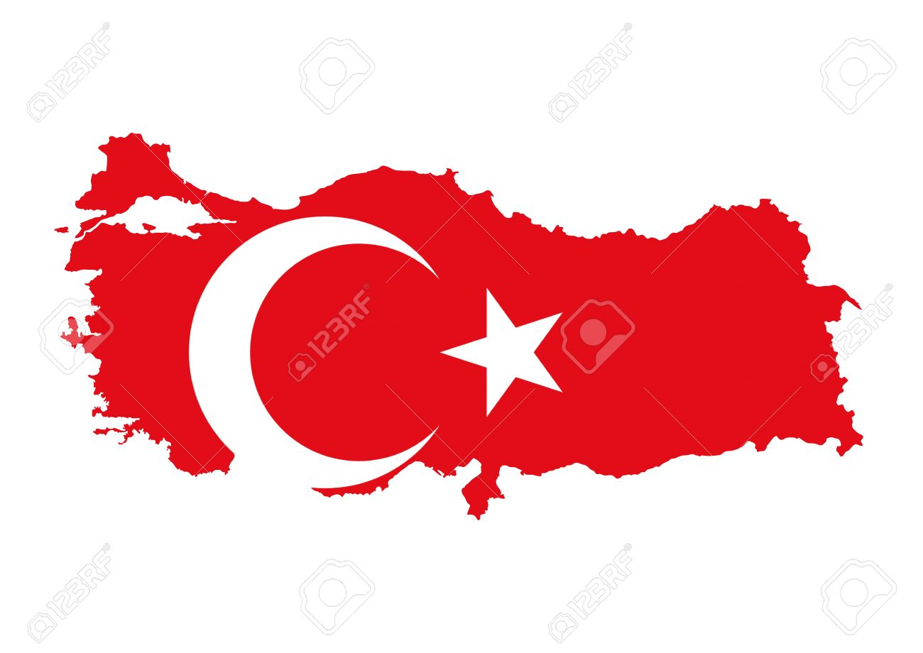 turkey country flag map shape national symbol stock photo picture