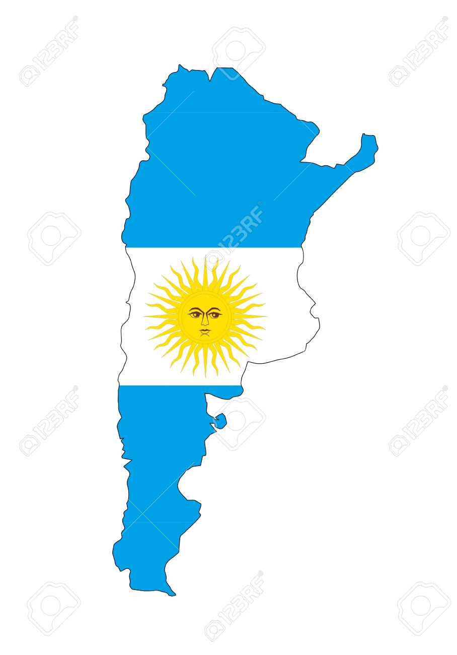 Argentina Country Flag Map Shape National Symbol Stock Photo - Argentina map shape