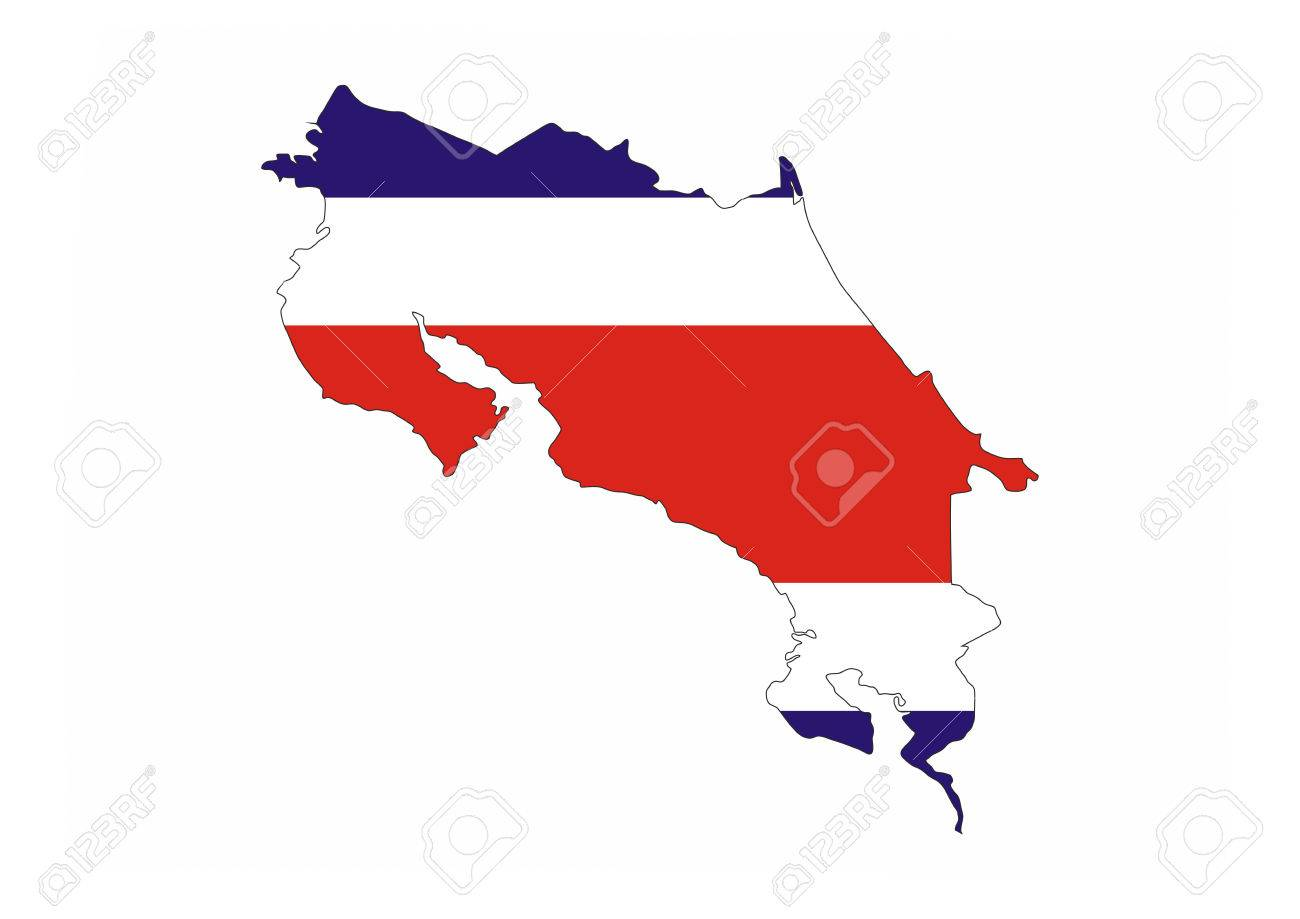 Costa Rica Country Flag Map Shape National Symbol Stock Photo