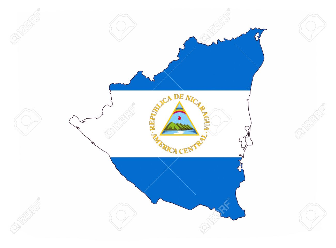 Nicaragua Country Flag Map Shape National Symbol Stock Photo - Country map of nicaragua