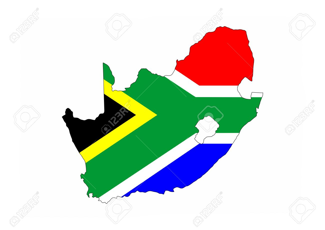Shape Of Africa Map.South Africa Country Flag Map Shape National Symbol Stock Photo