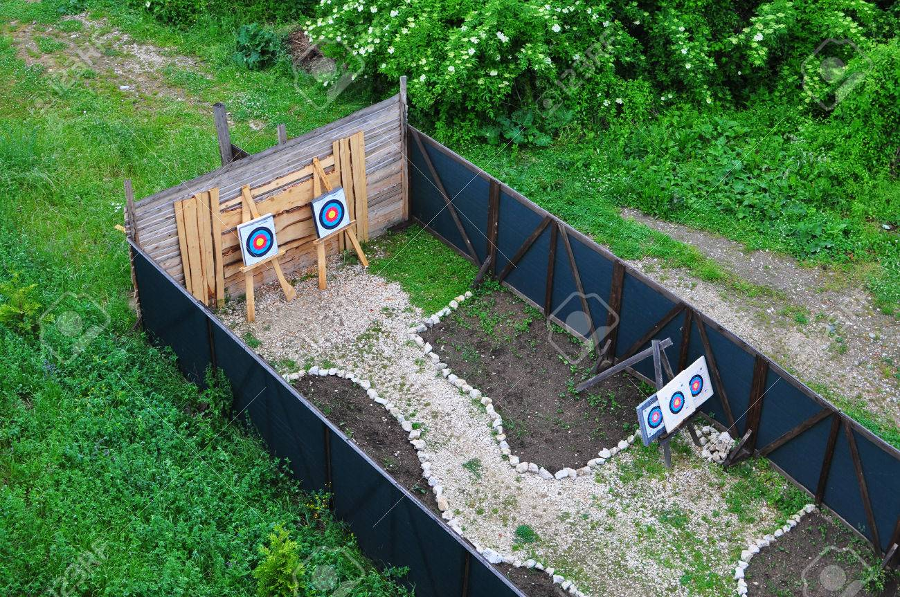 rasnov fortress romania archery shooting range detail stock photo