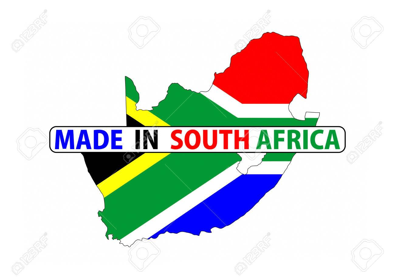 Flag Map Of Africa.Made In South Africa Country National Flag Map Shape With Text Stock