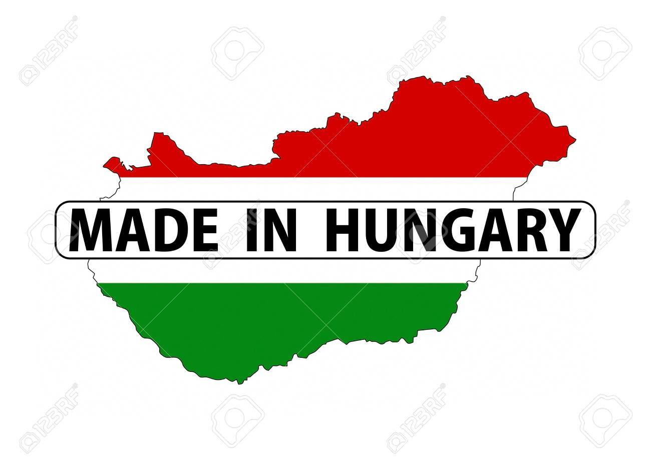 Made In Hungary Country National Flag Map Shape With Text Stock ...