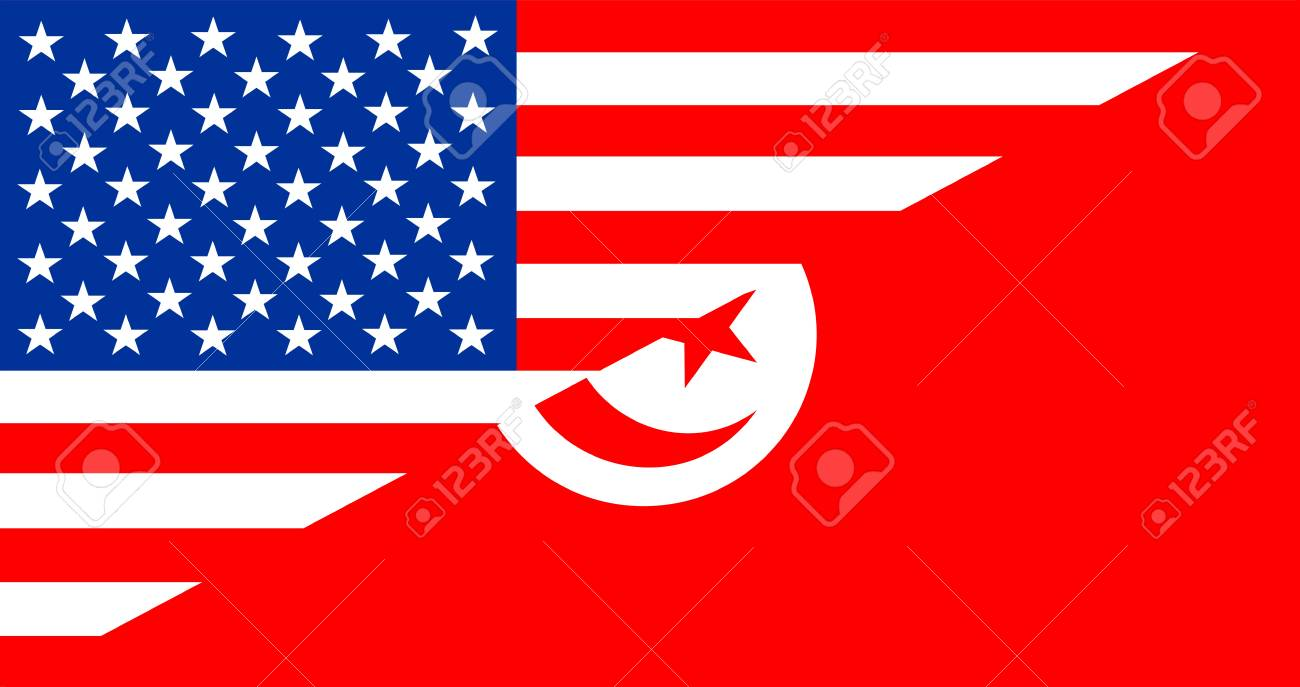 Usa America Tunisia Half Country Language Flag Stock Photo Picture And Royalty Free Image Image 55268248