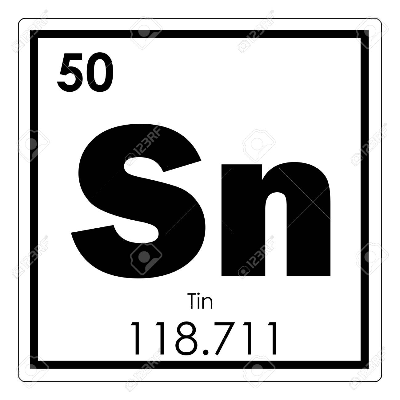 Tin Chemical Element Periodic Table Science Symbol Stock Photo