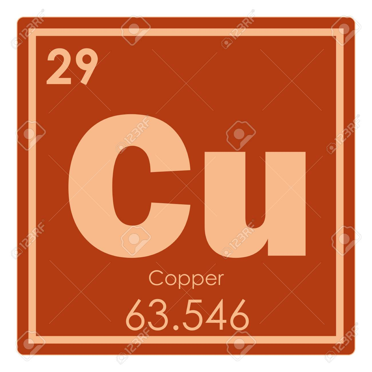 Copper Chemical Element Periodic Table Science Symbol Stock Photo
