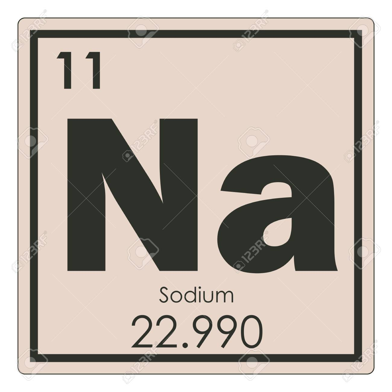 Sodium Chemical Element Periodic Table Science Symbol Stock Photo