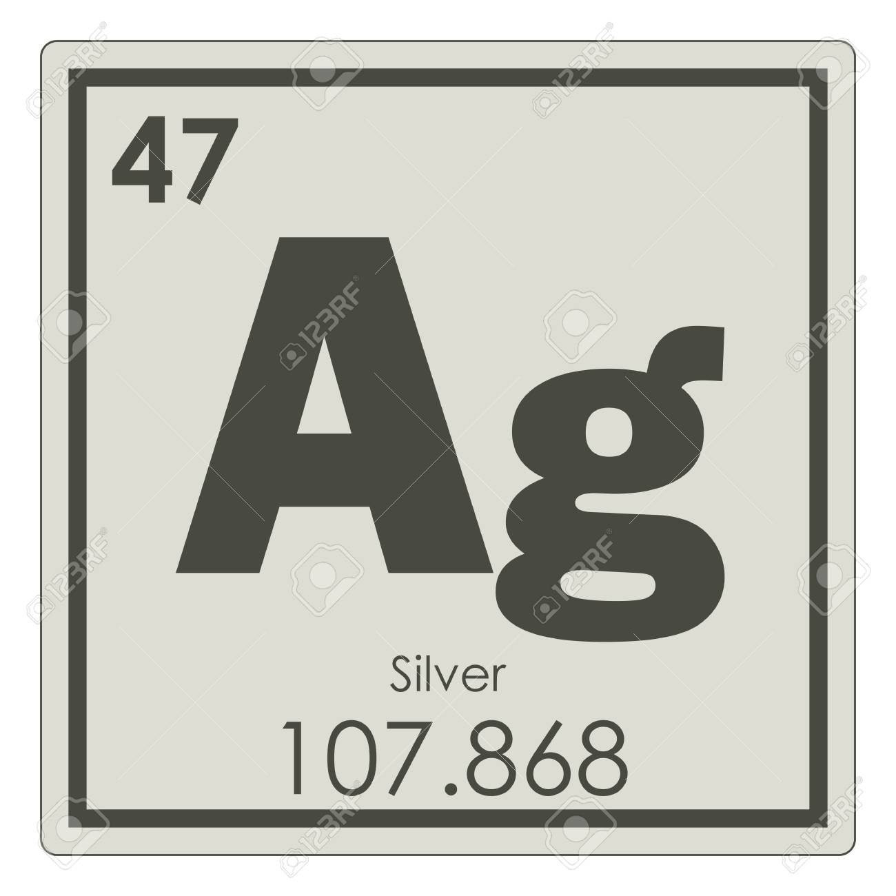 Silver Chemical Element Periodic Table Science Symbol Stock Photo
