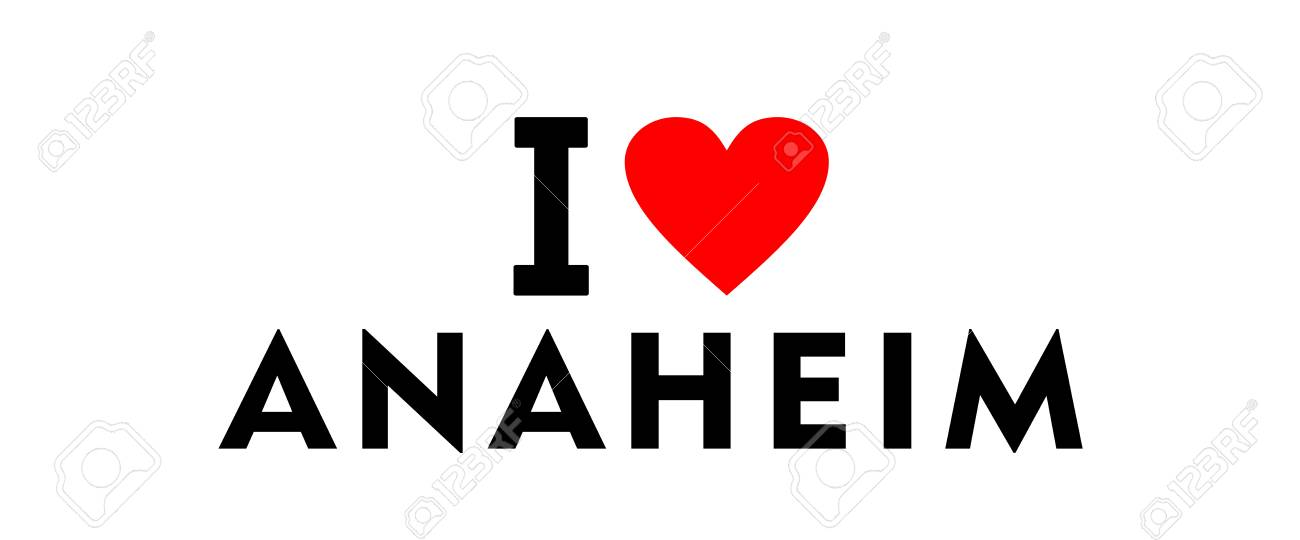 I Love Anaheim City United States Country Heart Symbol Stock Photo
