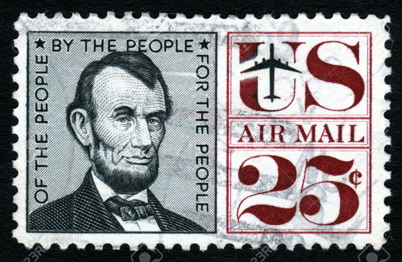 Vintage Abraham Lincoln USA 25c Airmail Postage Stamp Stock Photo