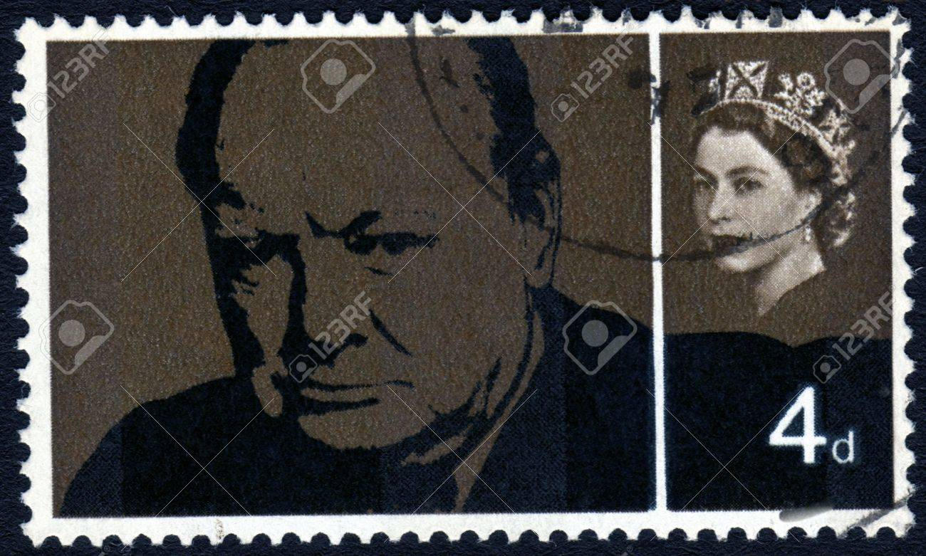 Vintage Winston Churchill Great Britain postage stamp Stock Photo - 1980040