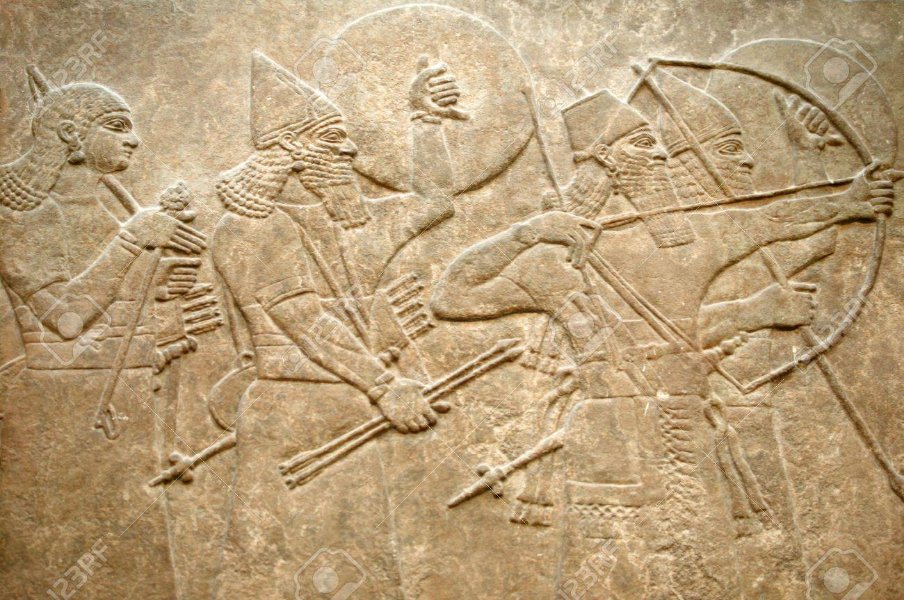 Assyrian 8th century BC relief showing Assyrian soldiers in battle Stock Photo - 10180950