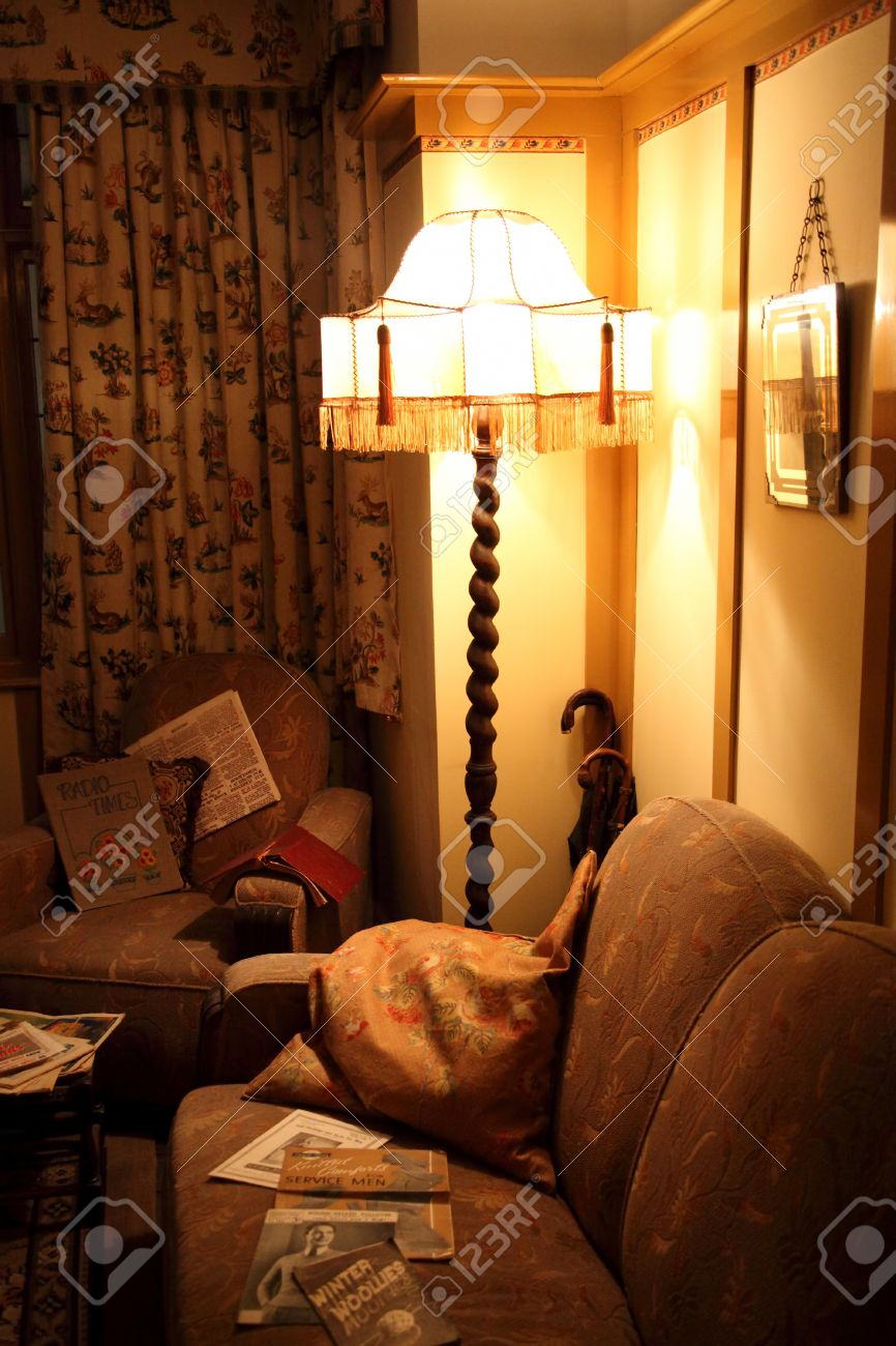 Old Fashioned 1930\'s Living Room Interior With A Standard Lamp ...