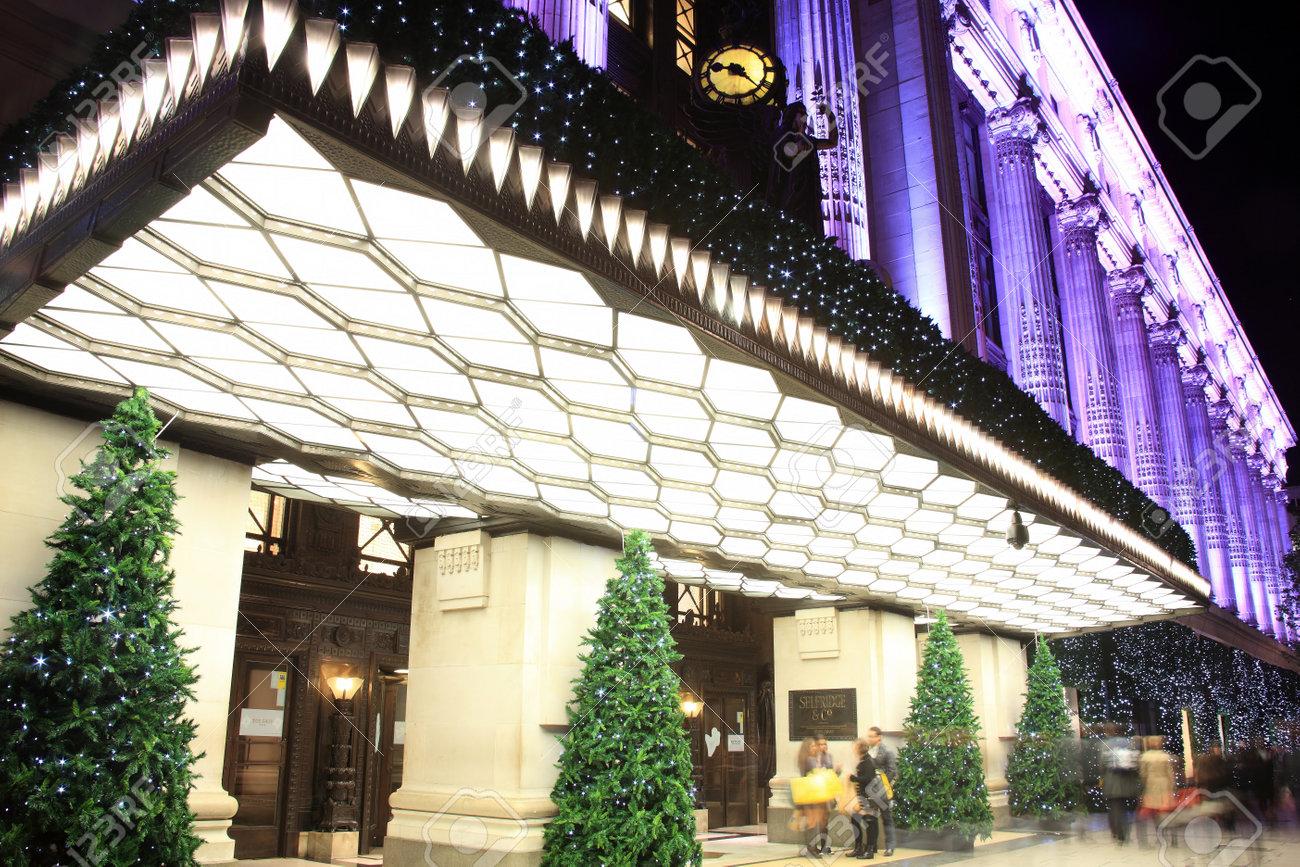 London, UK - November 10, 2011: The Christmas tree decorations outside Selfridges at night, in Oxford Street during the festive season. Stock Photo - 11175648