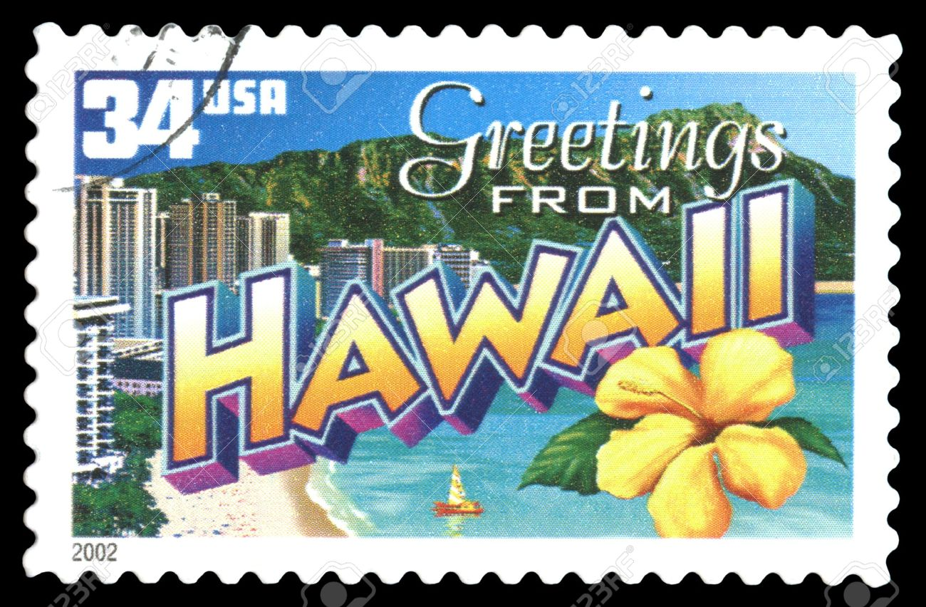 USA Postage Stamp Greetings From Hawaii Stock Photo Picture And