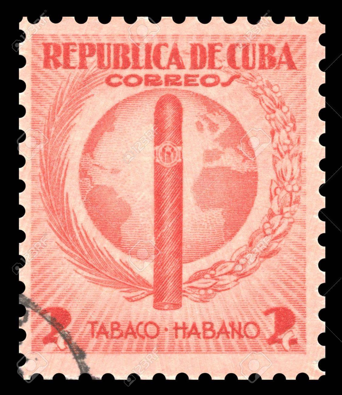 Vintage red Cuba postage stamp with an engraved image of an Havana