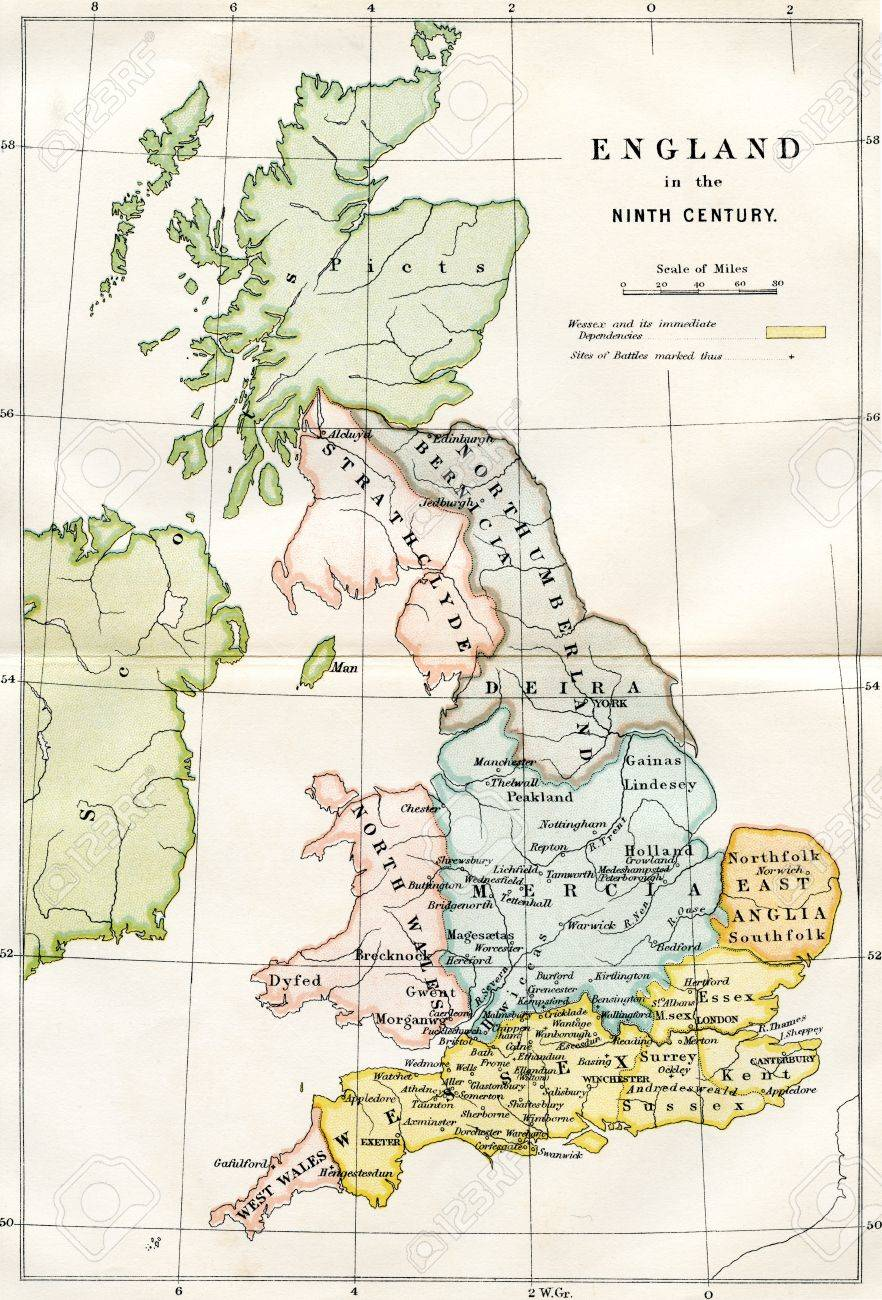 An engraved image showing a 9th century map of the kingdoms of an engraved image showing a 9th century map of the kingdoms of anglo saxon dark age gumiabroncs Choice Image