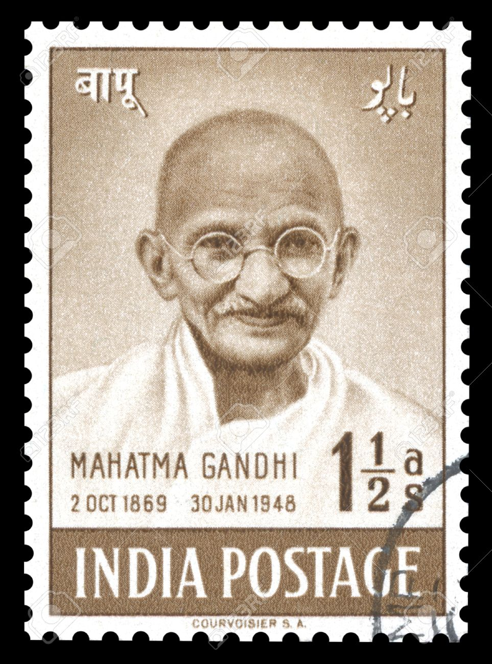 Vintage India postage stamp of 1948 showing an engraved portrait