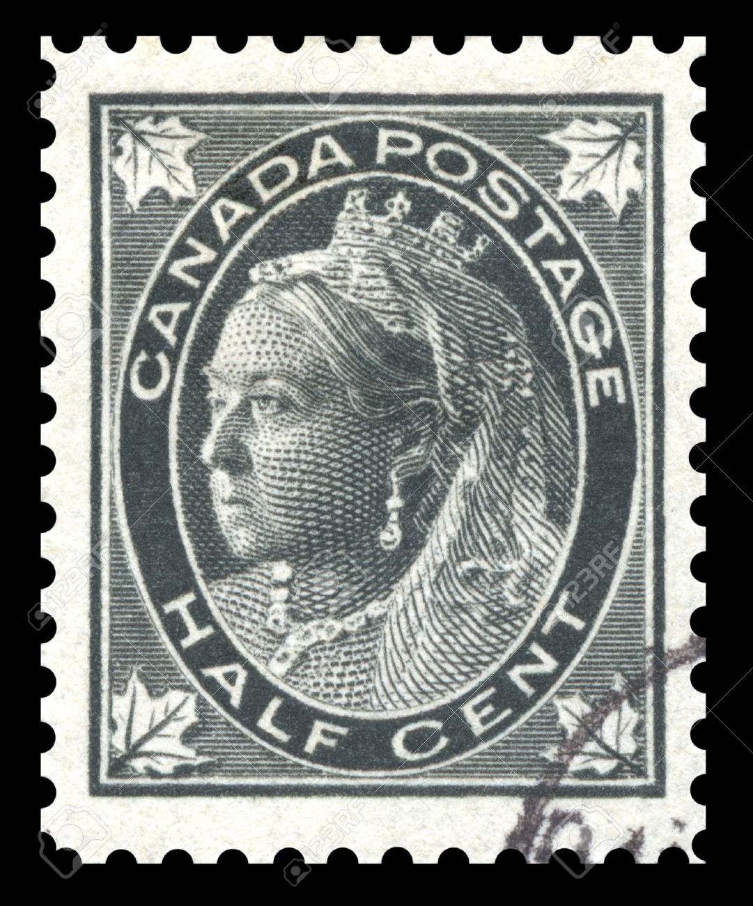 Antique Late 19th Century Canada Black Half Cent Postage Stamp Showing An Engraved Image Of Queen