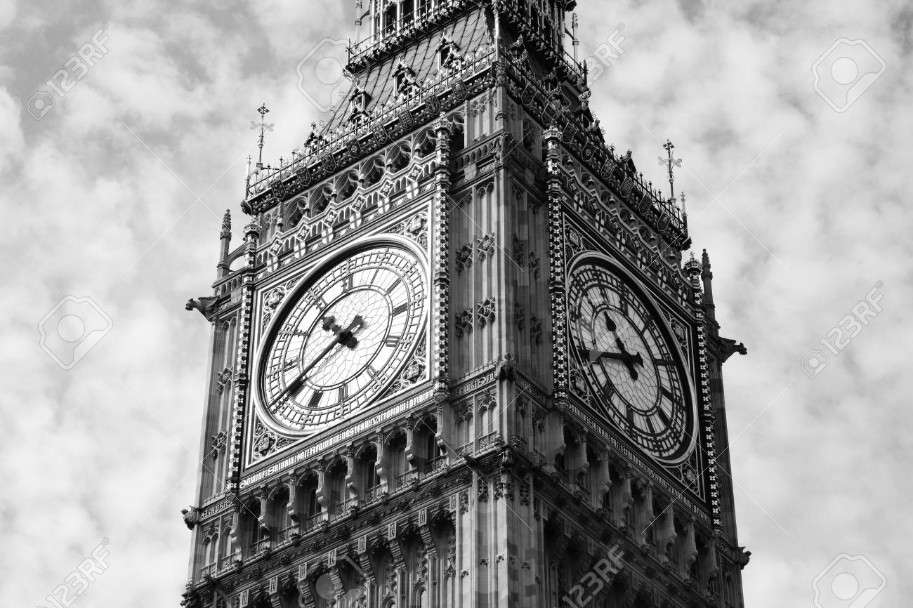 Black and white, monochrome image of the clock face of Big Ben of the Houses Of Parliament in Westminster, London, England, UK which was built on the site of the Royal Palace Of Westminster, in a Gothic style, after a fire in 1834  Stock Photo - 16233355