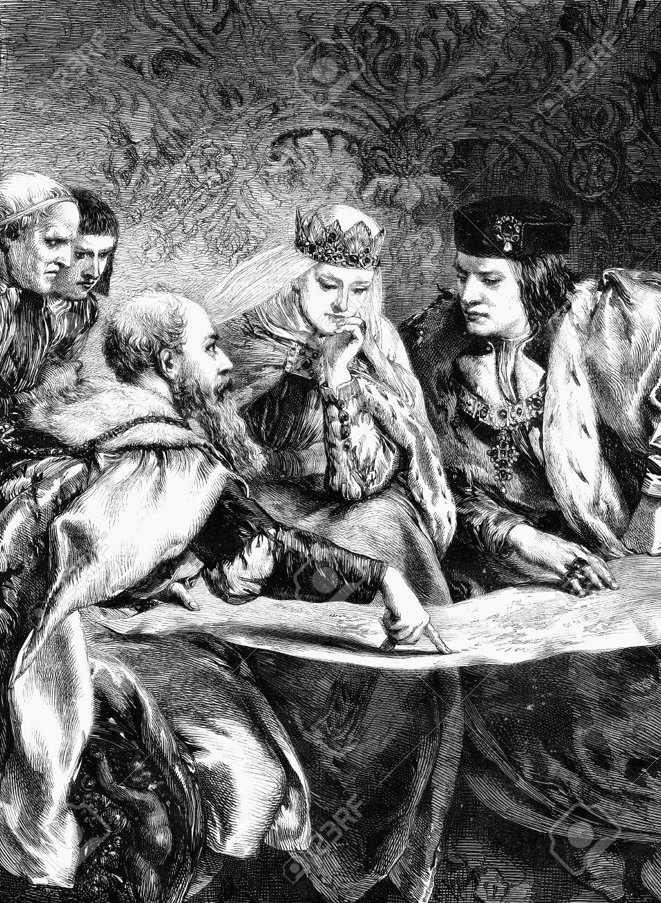 An engraved illustration of Christopher Columbus at the court of King Ferdinand and Queen Isabella, from a Victorian newspaper dated 1868 that is no longer in copyright Stock Illustration - 19683464