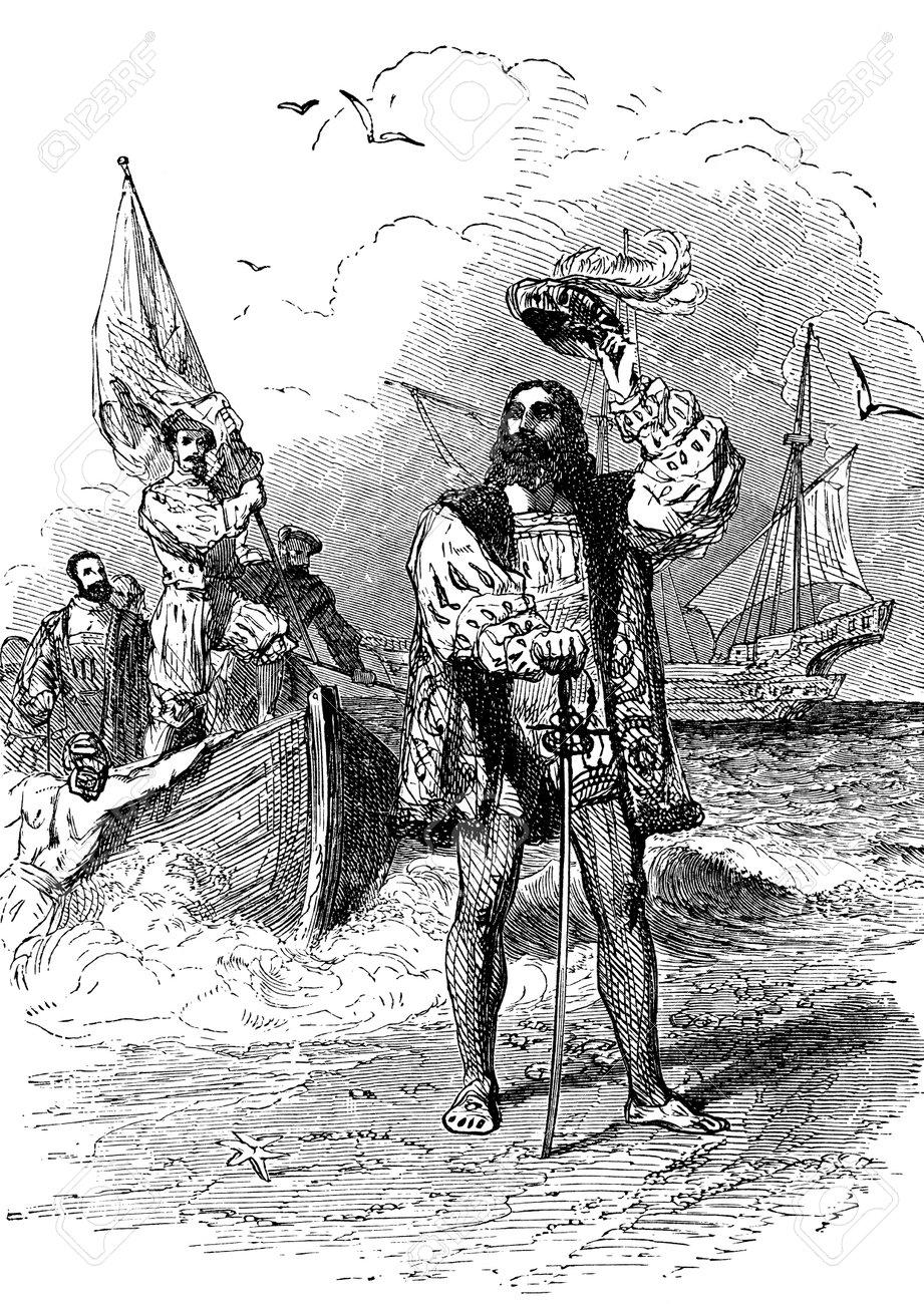 an engraved illustration portrait of christopher columbus landing