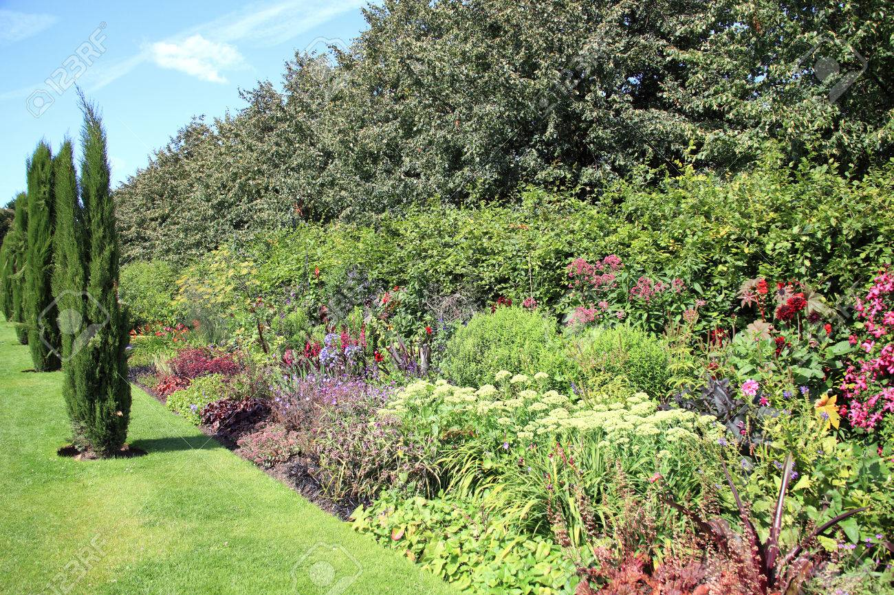 Old Fashioned Formal Cottage Garden Herbaceous Flower Bed Border Stock  Photo   30119384