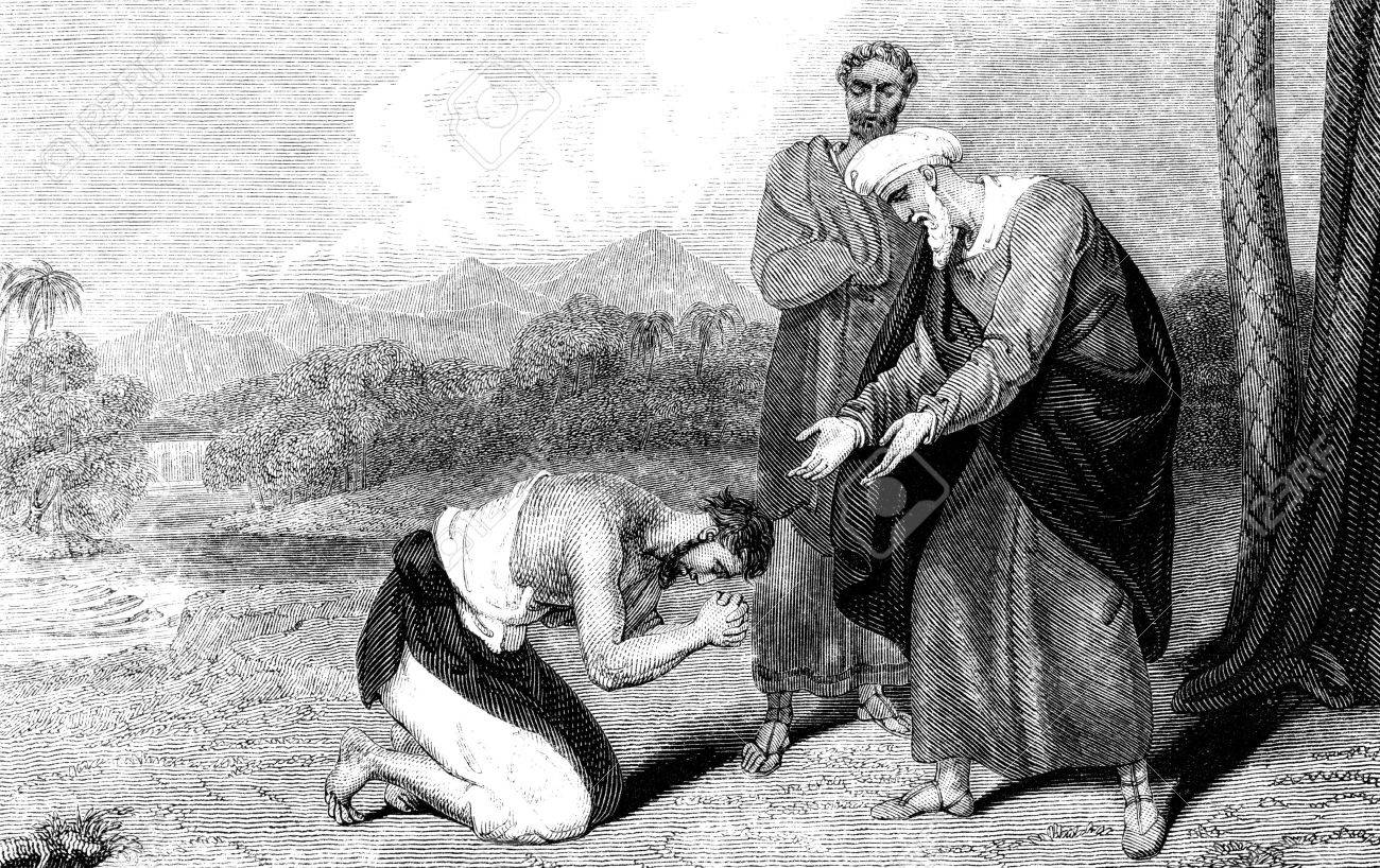 an engraved vintage illustration image of the parable of the