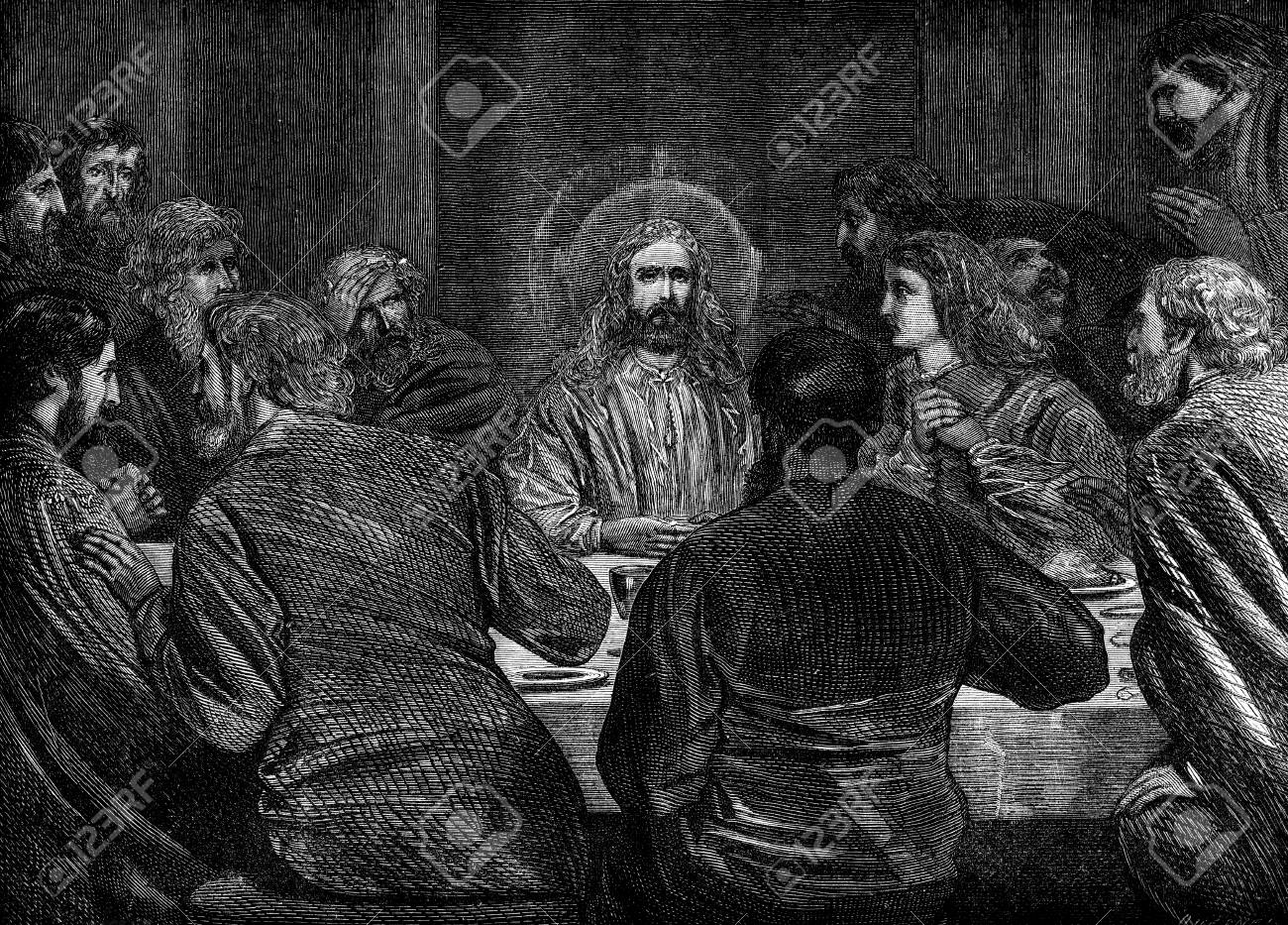 an engraved vintage illustration image of jesus at the last supper