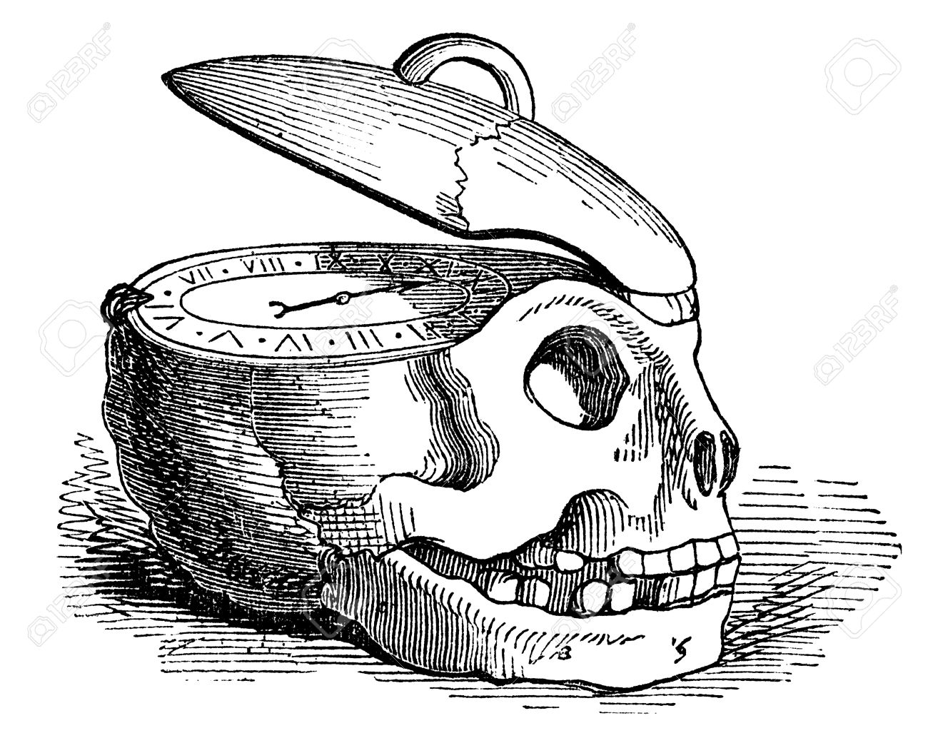 an engraved illustration drawing of a human skull clock watch of the concept of time