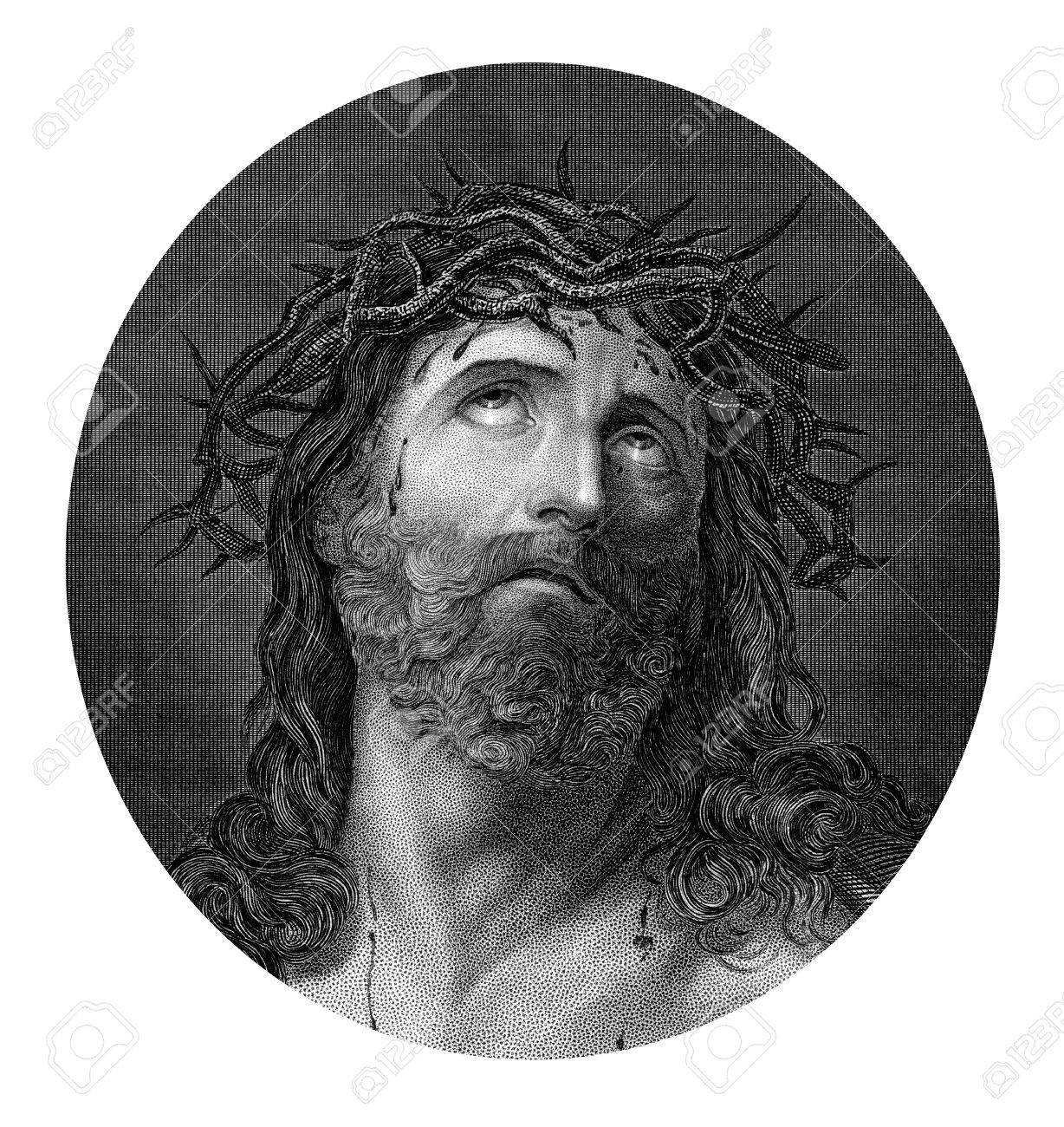 an engraved illustration drawing portrait of the crucifixion