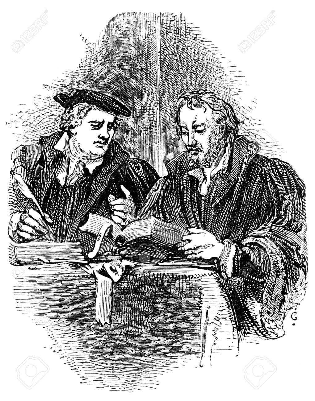 Protestant reformation stock photos pictures royalty free an engraved vintage portrait illustration of martin luther and philip melancthon leading figures of the protestant buycottarizona